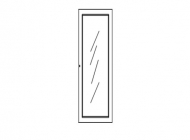Средняя стеклянная дверь для узкого шкафа 658