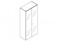 Шкаф высокий со стеклянными дверьми