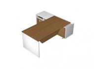 Стол прямой с экраном на опорной тумбе с ящиками (левый/правый)