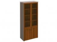 Шкаф книжный со стеклянными дверьми в раме